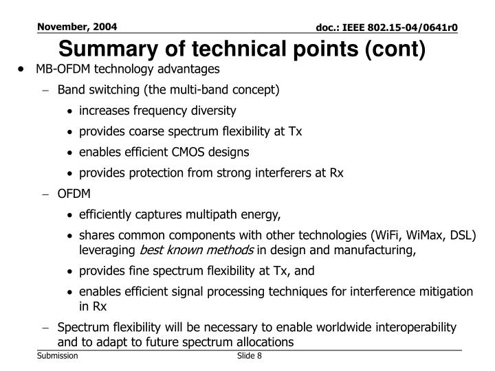 Summary of technical points (cont)
