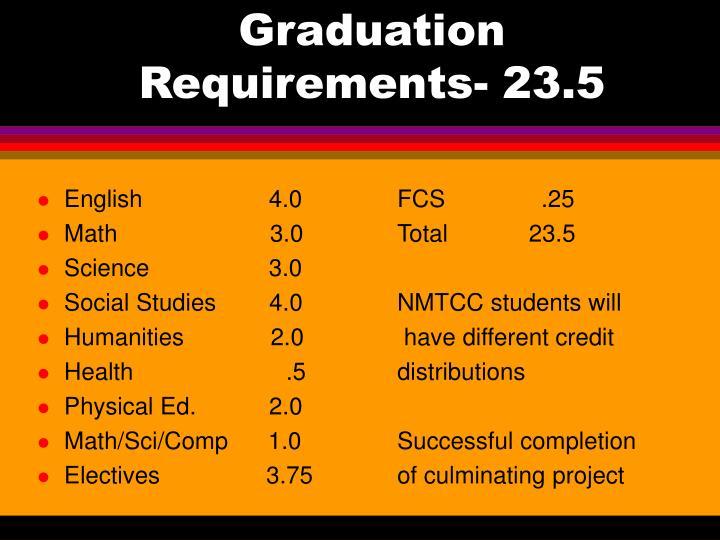 Graduation Requirements- 23.5