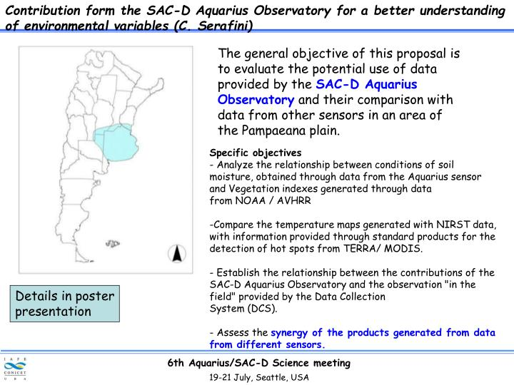Contribution form the SAC-D Aquarius Observatory for a better understanding of environmental variables (C. Serafini)
