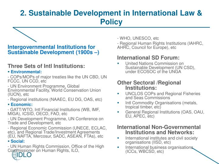 Intergovernmental Institutions for Sustainable Development (1900s –)