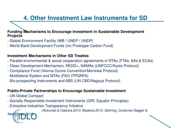 4. Other Investment Law Instruments for SD