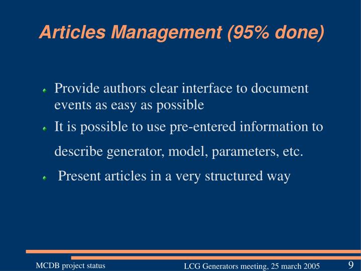 Articles Management (95% done)