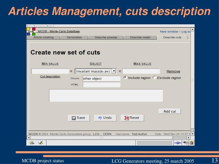 Articles Management, cuts description