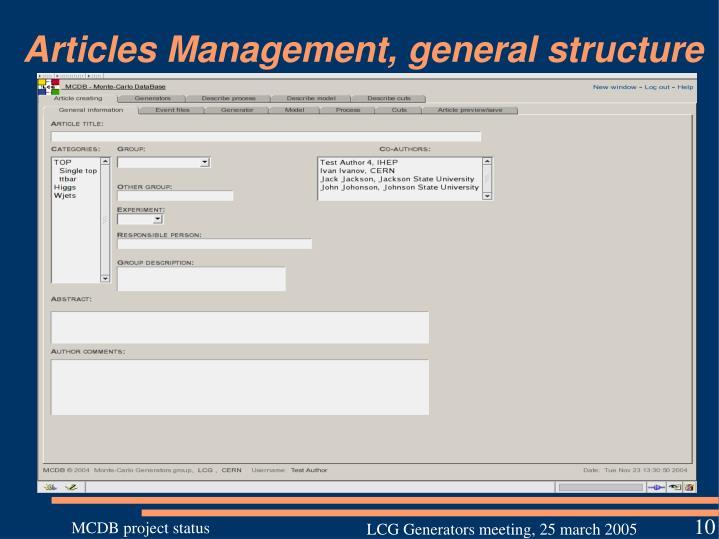 Articles Management, general structure