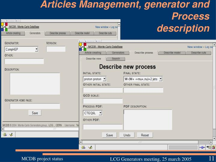Articles Management, generator and