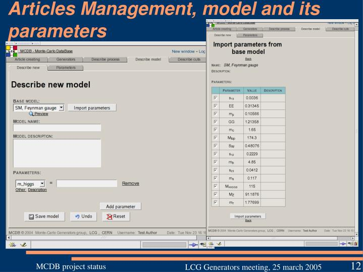Articles Management, model and its parameters