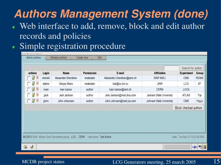 Authors Management System (done)