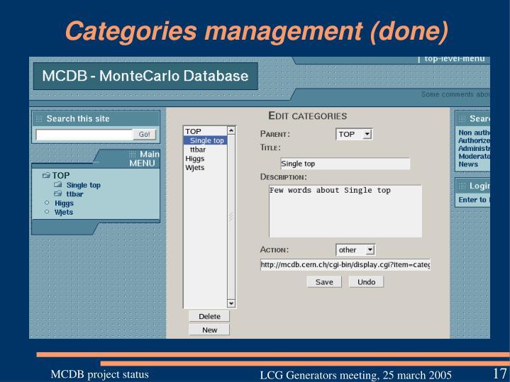 Categories management (done)