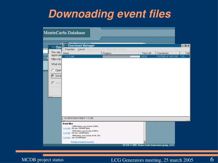 Downoading event files