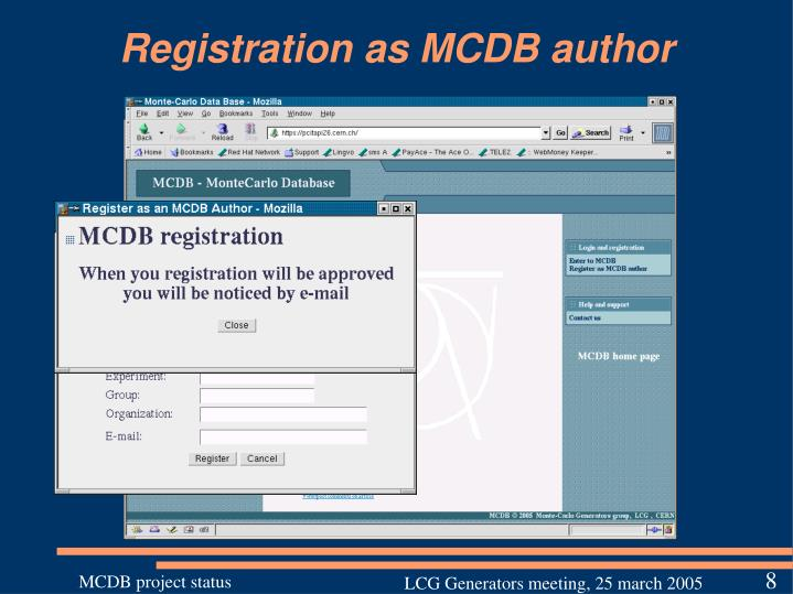 Registration as MCDB author