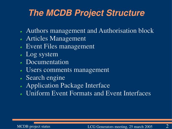 The MCDB Project Structure