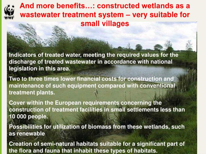And more benefits…: constructed wetlands as a wastewater treatment system – very suitable for small villages