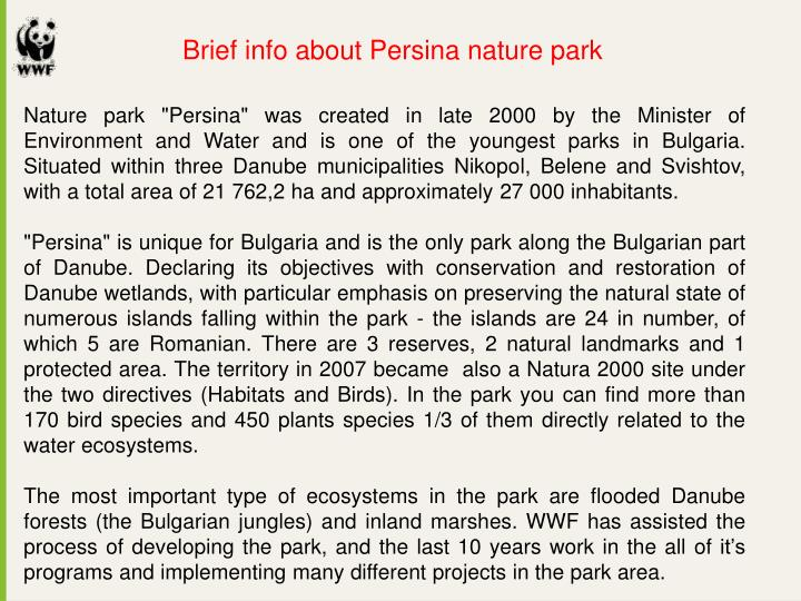 Brief info about Persina nature park