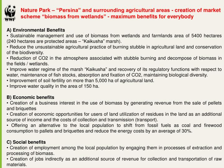 "Nature Park – ""Persina"" and surrounding agricultural areas - creation of market scheme ""biomass from wetlands"" - maximum benefits for everybody"
