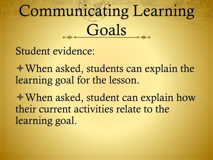 Communicating Learning Goals