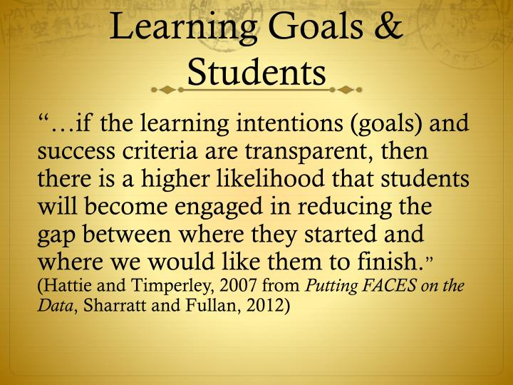 Learning Goals & Students