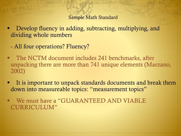 Sample Math Standard