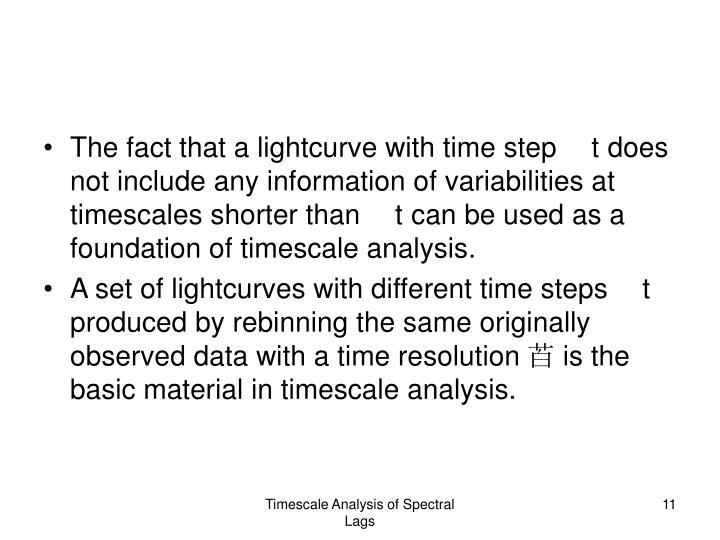 The fact that a lightcurve with time step t does not include any information of variabilities at timescales shorter than t can be used as a foundation of timescale analysis.