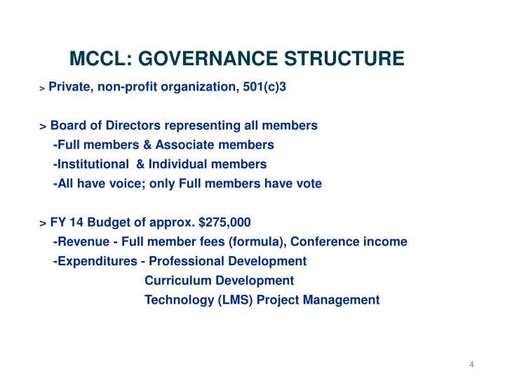 MCCL: GOVERNANCE STRUCTURE