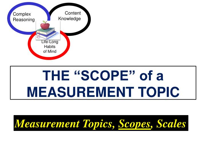 """THE """"SCOPE"""" of a MEASUREMENT TOPIC"""