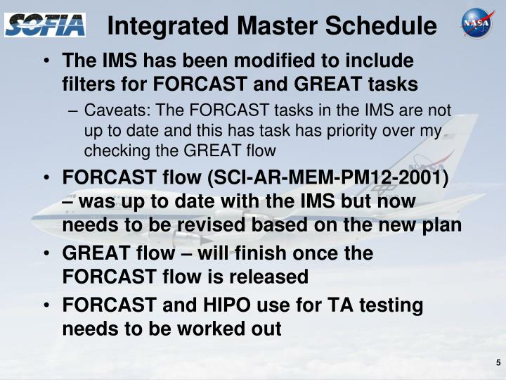 Integrated Master Schedule