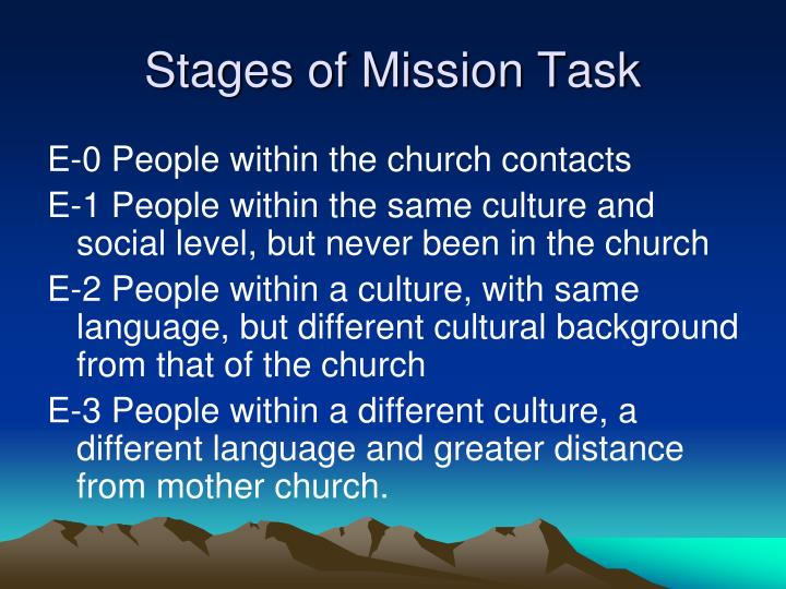 Stages of mission task