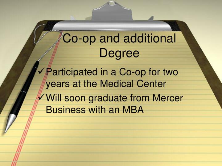 Co-op and additional Degree