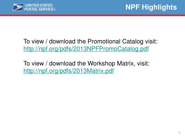 NPF Highlights