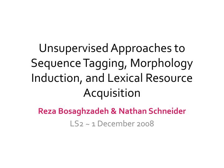Unsupervised Approaches to Sequence Tagging, Morphology Induction, and Lexical Resource Acquisition