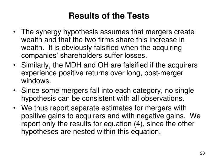 Results of the Tests