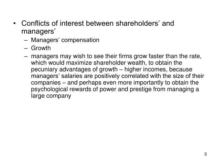 Conflicts of interest between shareholders' and managers'