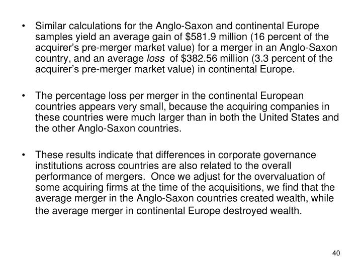 Similar calculations for the Anglo-Saxon and continental Europe samples yield an average gain of $581.9 million (16 percent of the acquirer's pre-merger market value) for a merger in an Anglo-Saxon country, and an average