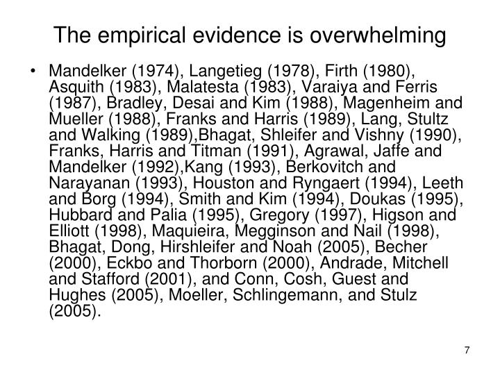 The empirical evidence is overwhelming