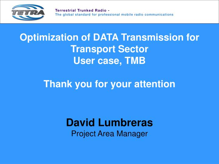 Optimization of DATA Transmission for Transport Sector