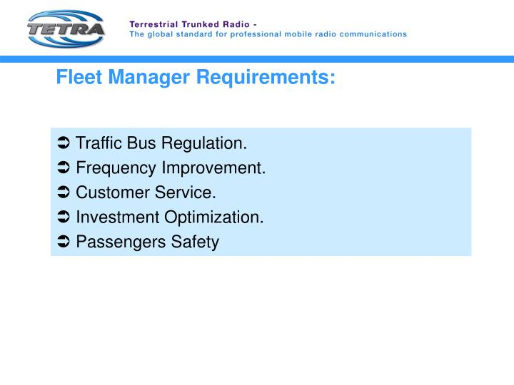Fleet Manager Requirements: