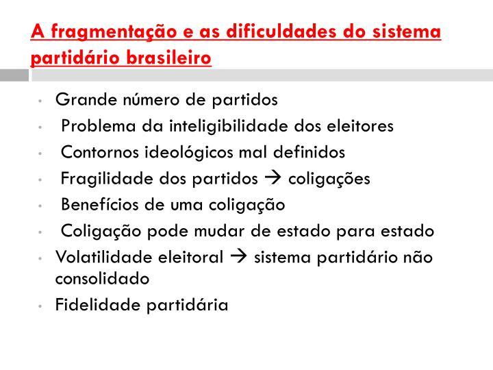 A fragmentação e as dificuldades do sistema partidário brasileiro