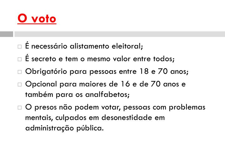 O voto