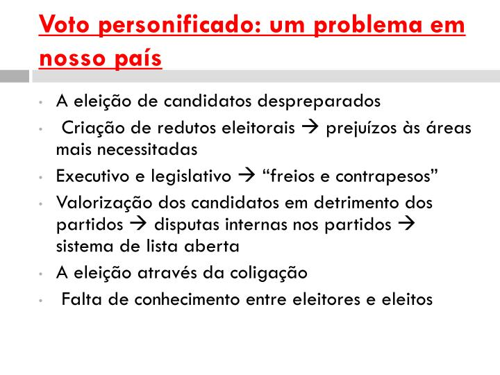 Voto personificado: um problema em nosso país