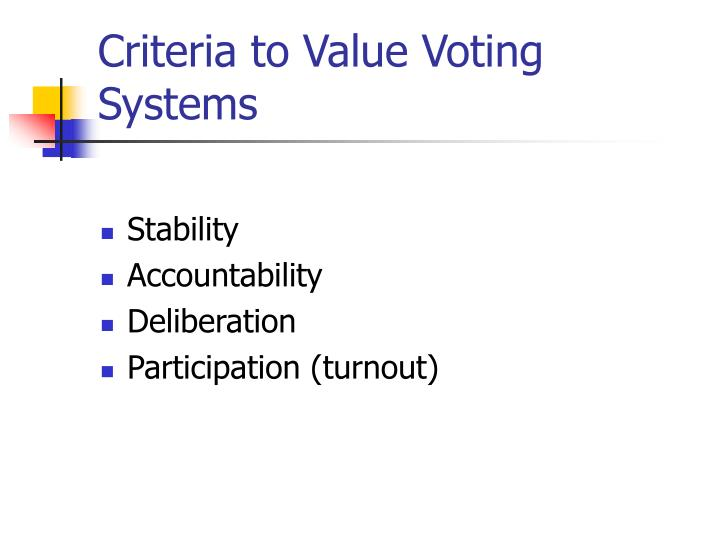 Criteria to Value Voting Systems