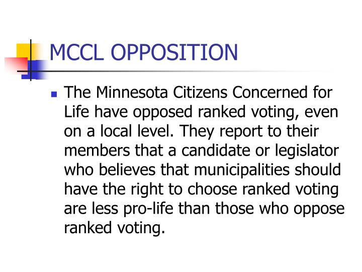 MCCL OPPOSITION