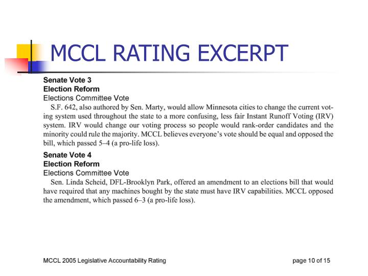 MCCL RATING EXCERPT