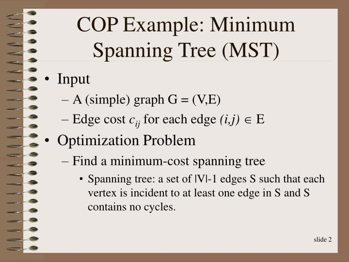 Cop example minimum spanning tree mst
