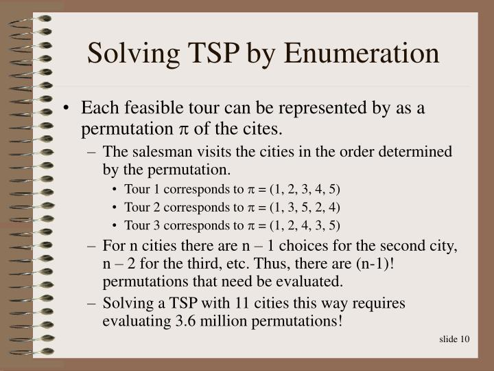 Solving TSP by Enumeration