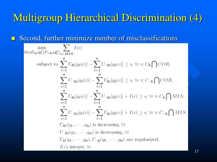 Multigroup Hierarchical Discrimination (4)