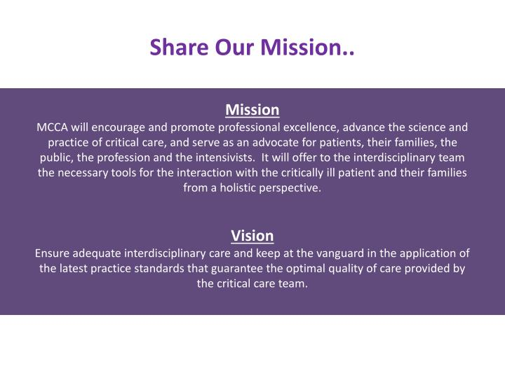 Share Our Mission..