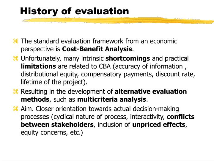 History of evaluation