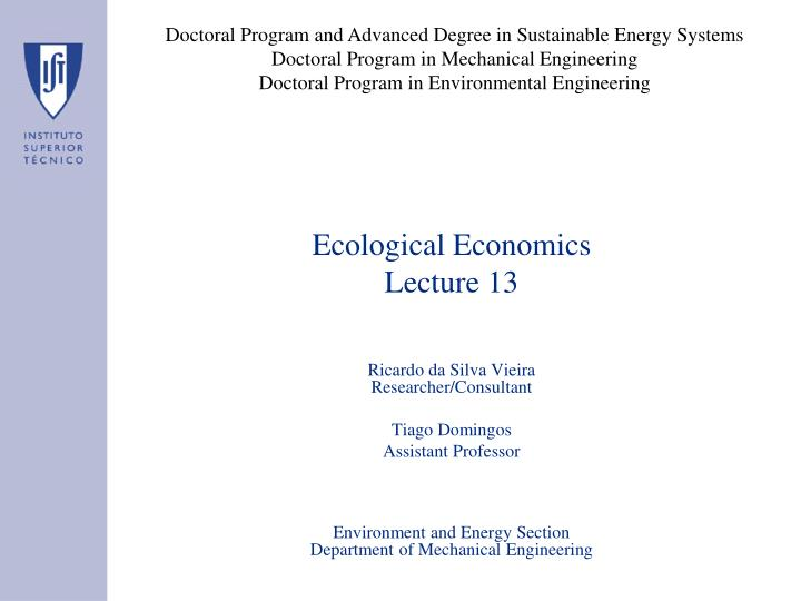 Doctoral Program and Advanced Degree in Sustainable Energy Systems