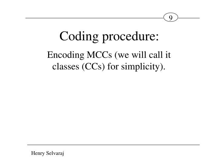 Coding procedure: