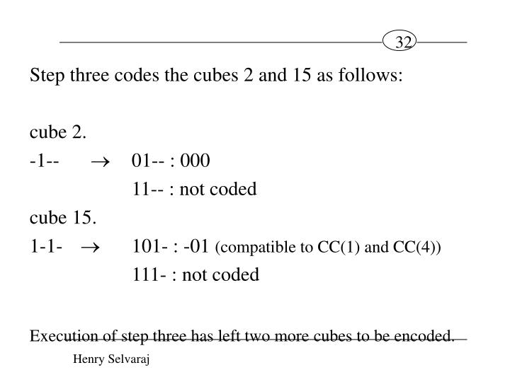 Step three codes the cubes 2 and 15 as follows:
