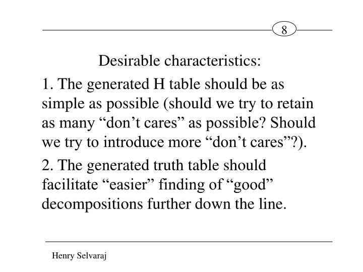 Desirable characteristics: